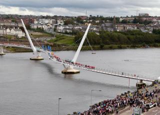 The Peace Bridge which connects the Waterside to the heart of Derry city