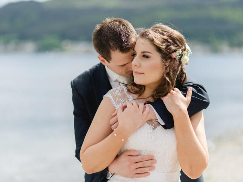Wedding Couple on beach at Slieve Donard