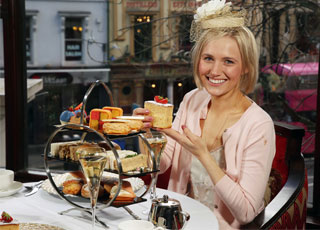Laura Ann Barr enjoys the Royal Afternoon Tea at the Europa Hotel